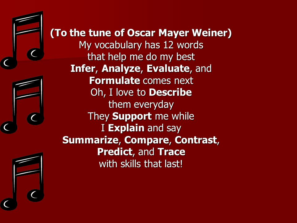 (To the tune of Oscar Mayer Weiner) My vocabulary has 12 words that help me do my best Infer, Analyze, Evaluate, and Formulate comes next Oh, I love t