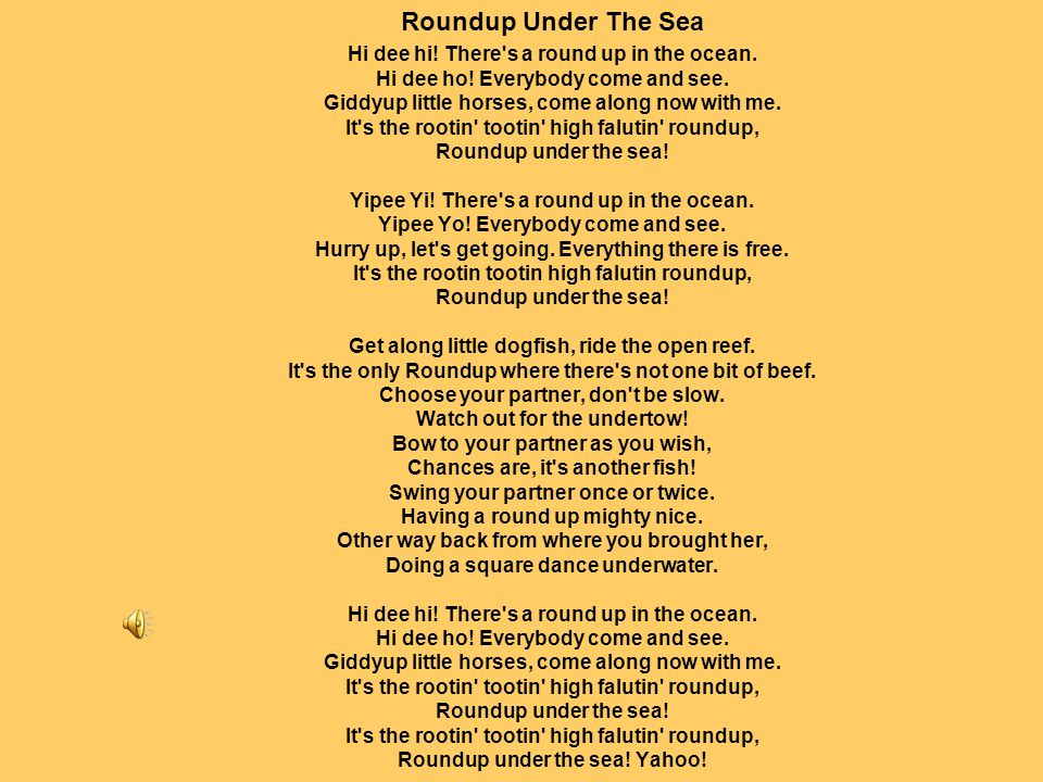 Roundup Under The Sea Hi dee hi. There s a round up in the ocean.
