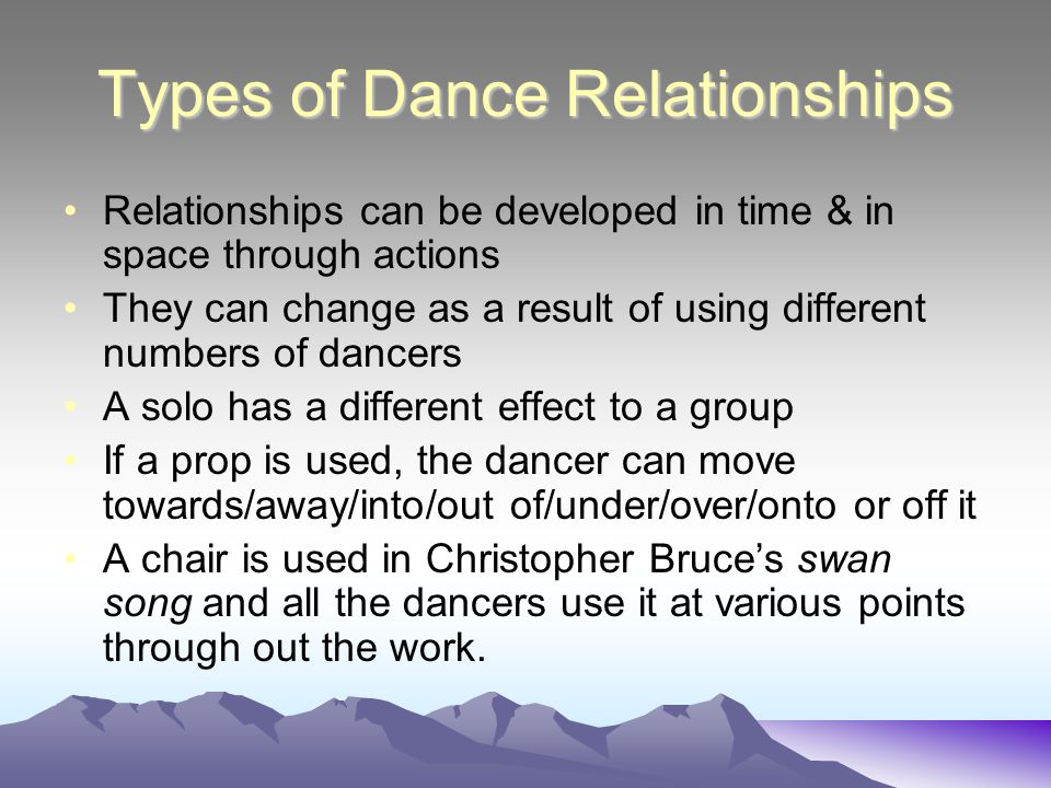 Relationships (with whom we dance)