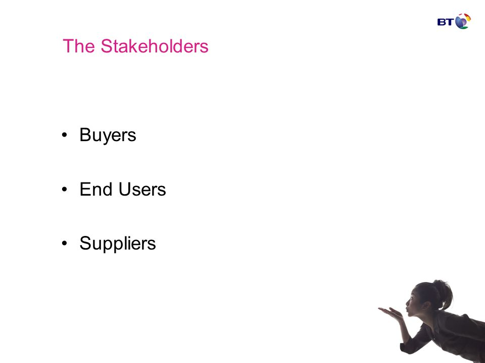 The Stakeholders Buyers End Users Suppliers
