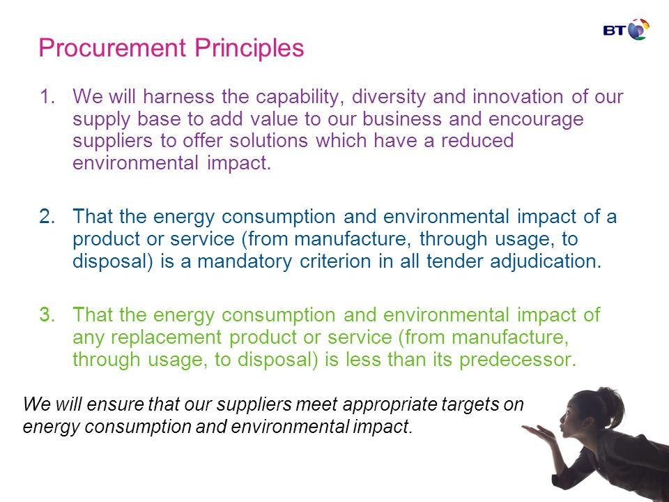 Procurement Principles 1.We will harness the capability, diversity and innovation of our supply base to add value to our business and encourage suppli