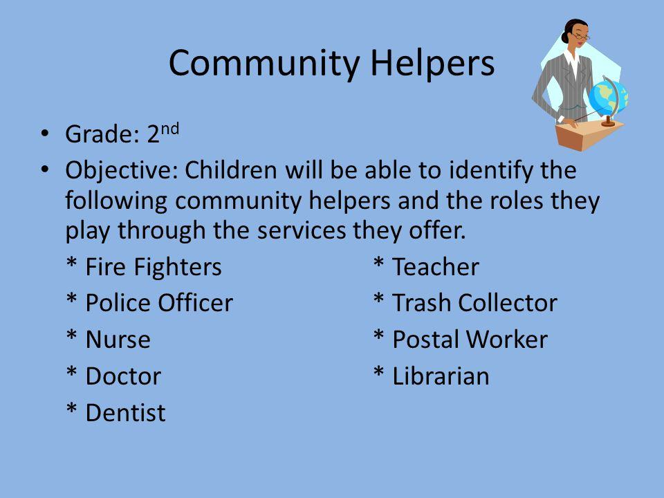 Community Helpers Grade: 2 nd Objective: Children will be able to identify the following community helpers and the roles they play through the services they offer.