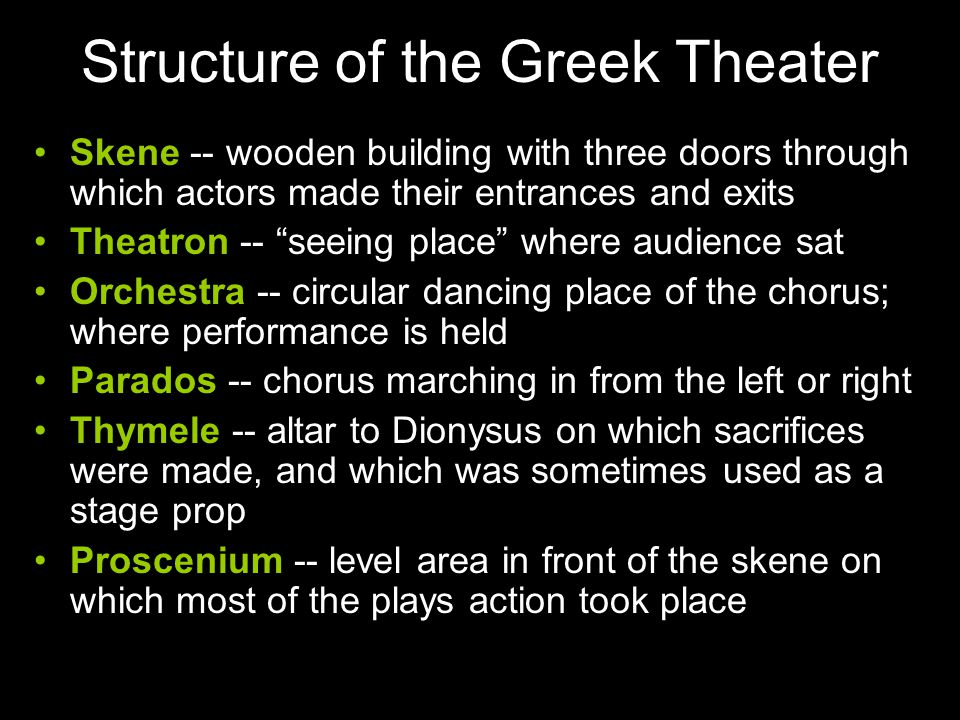 """Structure of the Greek Theater Skene -- wooden building with three doors through which actors made their entrances and exits Theatron -- """"seeing place"""