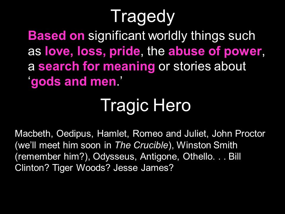 Structure of Greek Tragedies Prologue-- opening scene (introduction) Parados – entrance of chorus First, second, third and fourth episode episode -- act or scene Choral odes (end of each episode) Exodos -- final action of the play (recessional of chorus)