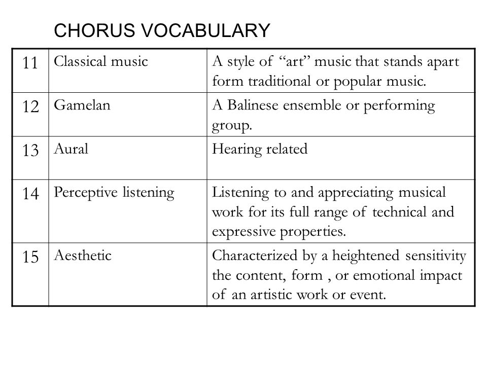 CHORUS VOCABULARY 11 Classical musicA style of art music that stands apart form traditional or popular music.