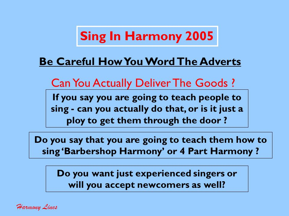 Sing In Harmony 2005 Who Are We Aiming This At Harmony Lincs Male Female Mixed