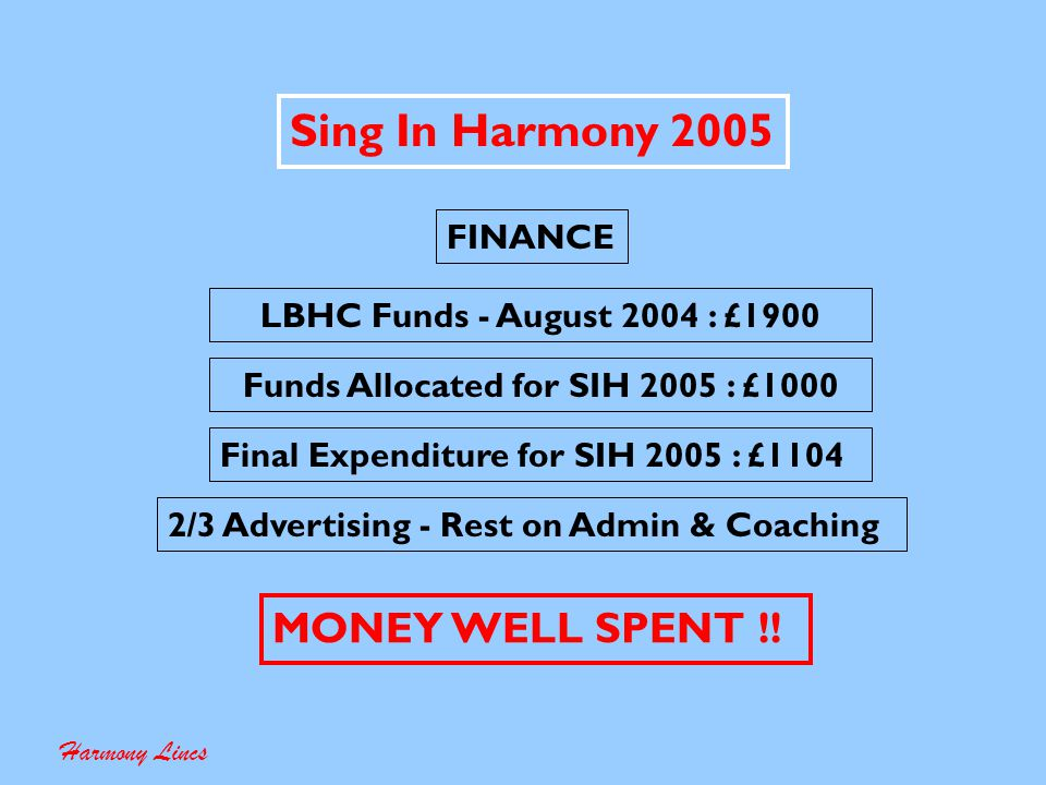 Sing In Harmony 2005 Harmony Lincs FINANCE Use your own finances .