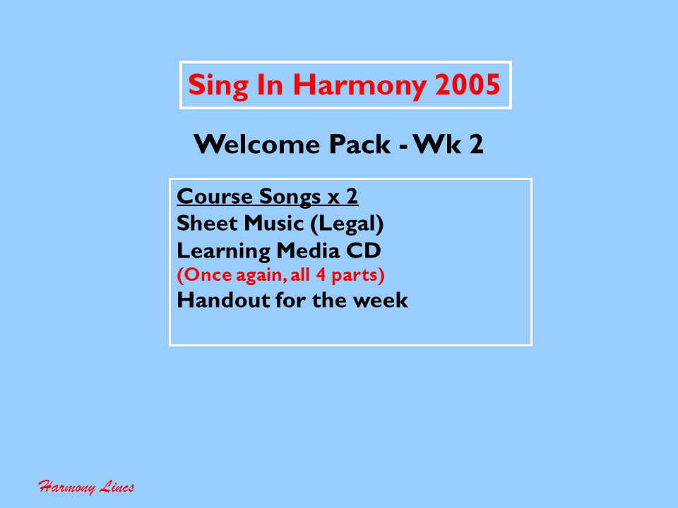 Sing In Harmony 2005 Allocation of Voice Parts Harmony Lincs The CD issued on week one had all four voice parts for all the songs.