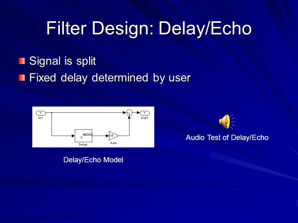 Filter Design: Delay/Echo Signal is split Fixed delay determined by user Delay/Echo Model Audio Test of Delay/Echo
