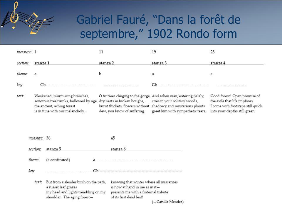 Gabriel Fauré, Dans la forêt de septembre, 1902 Rondo form