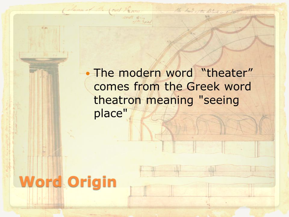 Word Origin The modern word theater comes from the Greek word theatron meaning seeing place
