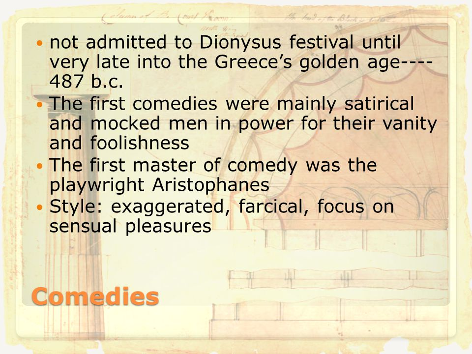 Comedies not admitted to Dionysus festival until very late into the Greece's golden age---- 487 b.c.