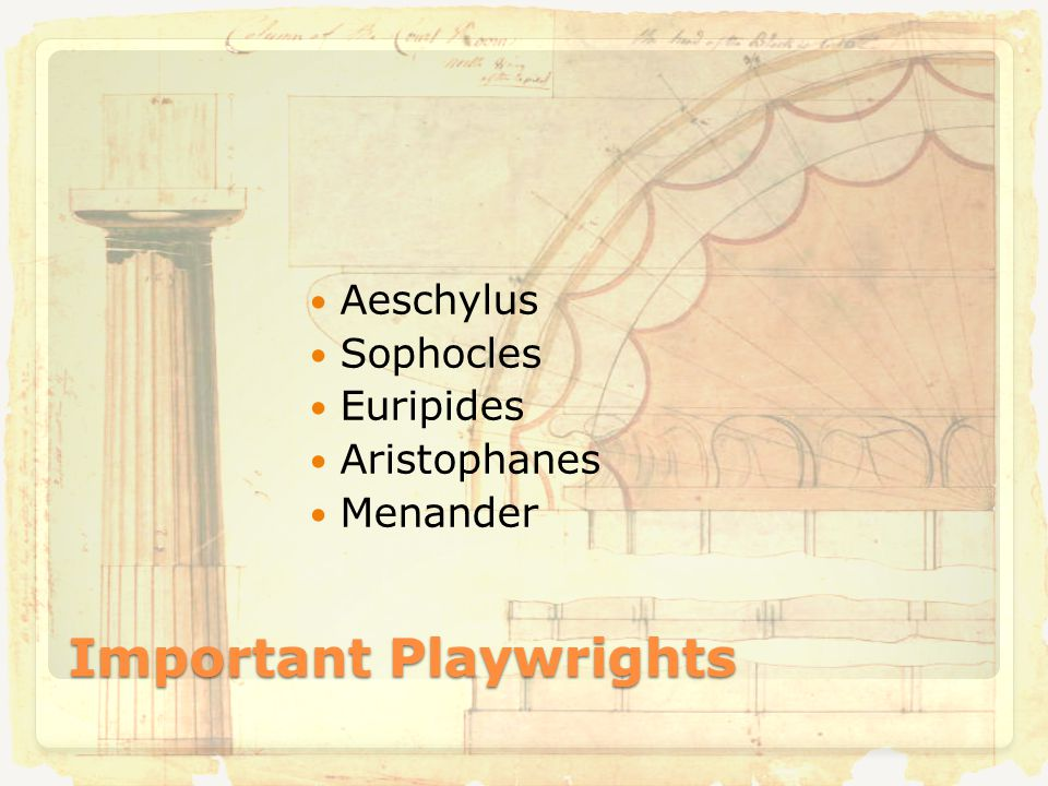 Important Playwrights Aeschylus Sophocles Euripides Aristophanes Menander