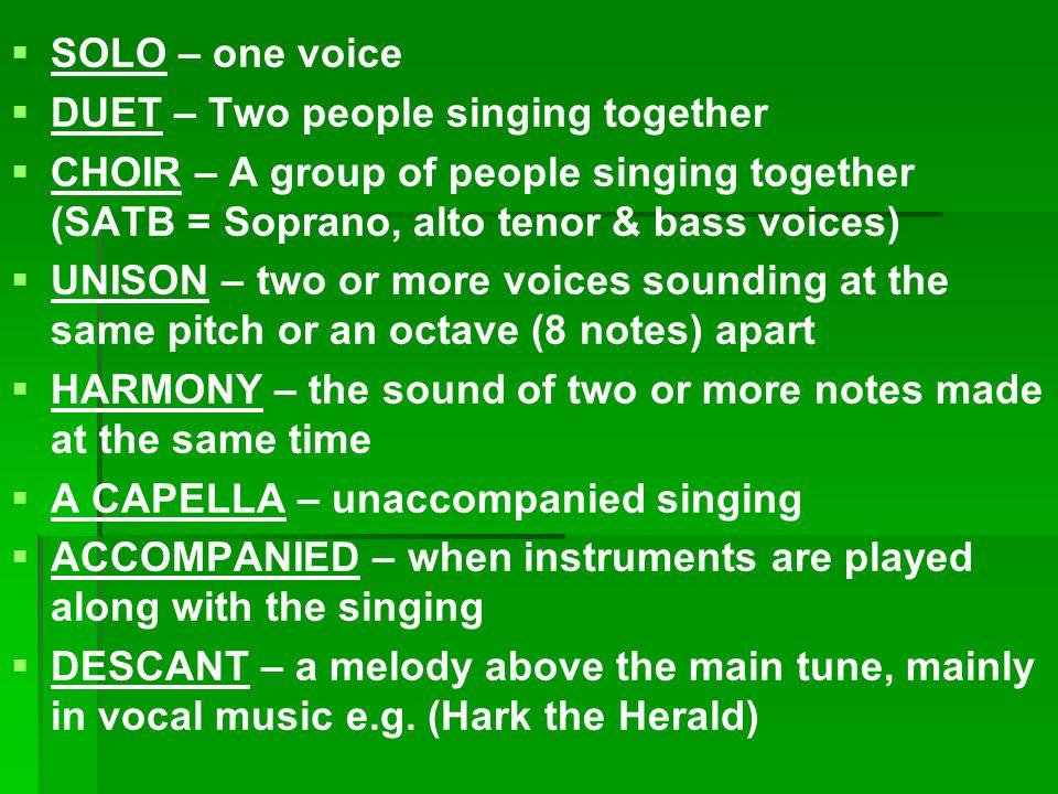 Songs RecitativeRecitative AriaAria ChorusChorus RoundRound