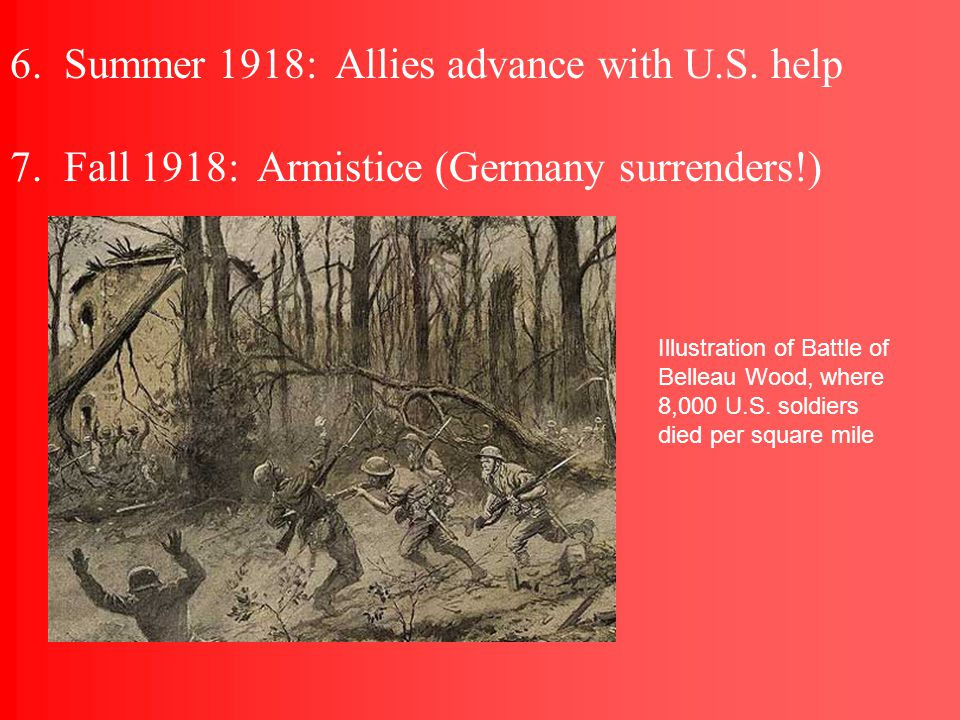 3. June 1917: U.S. troops arrive under General Pershing (AEF—American Expeditionary Force) 4.