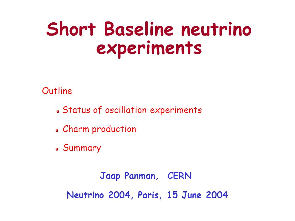 Oscillation searches In this talk concentrate on CERN programme, other experiments are covered by other speakers.