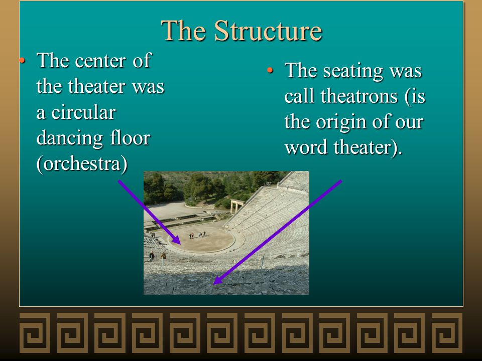 The Structure The seating was call theatrons (is the origin of our word theater).The seating was call theatrons (is the origin of our word theater). T