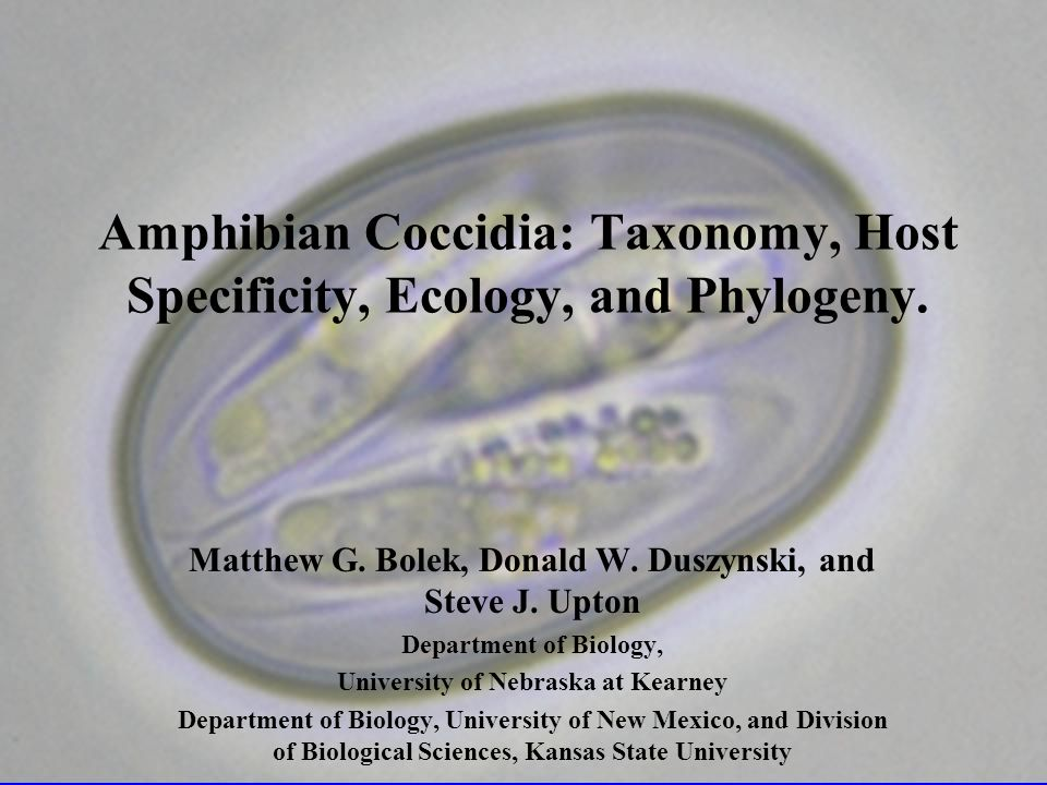 Amphibian Coccidia: Taxonomy, Host Specificity, Ecology, and Phylogeny.