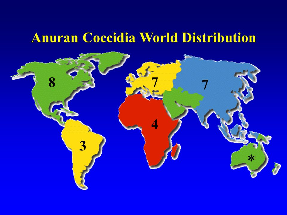 Anuran Coccidia World Distribution 87 4 7 3 *