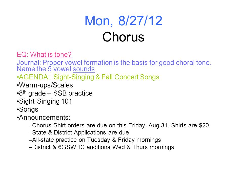 Tues, 8/28/12 Drama EQ: What is vocal projection.