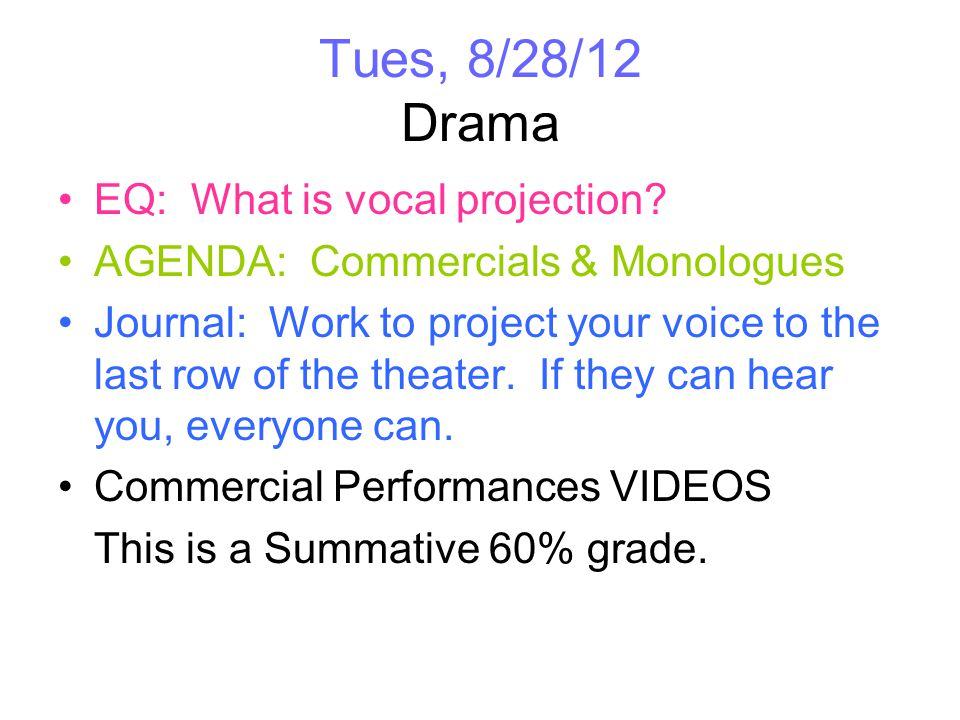 Fri, 8/31/12 Drama EQ: What is vocal projection.