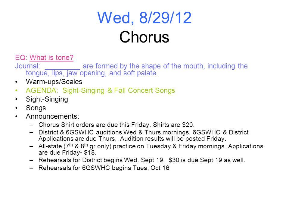 Wed, 8/29/12 Chorus EQ: What is tone.