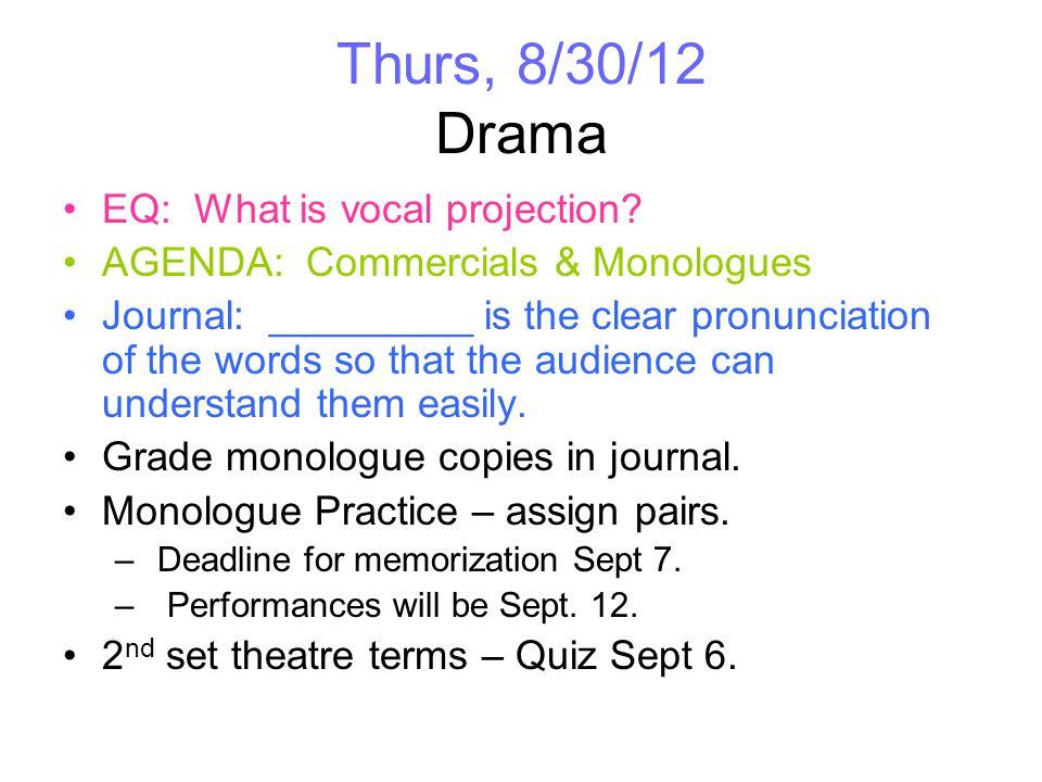 Thurs, 8/30/12 Chorus EQ: What is tone.