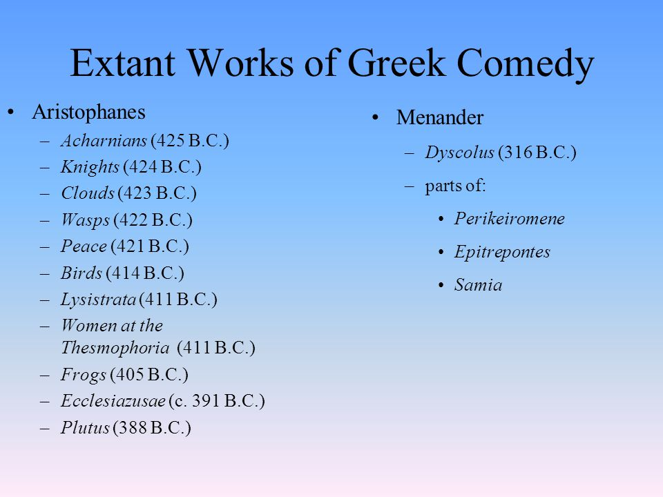 Extant Works of Greek Tragedy Aeschylus –Persians (472) –Seven Against Thebes (468) –Suppliant Women (463 ) –Oresteia Trilogy: (458) Agamemnon Libation Bearers Eumenides –Prometheus Bound (450-425 ) Sophocles –Ajax (450-430) –Antigone (c.