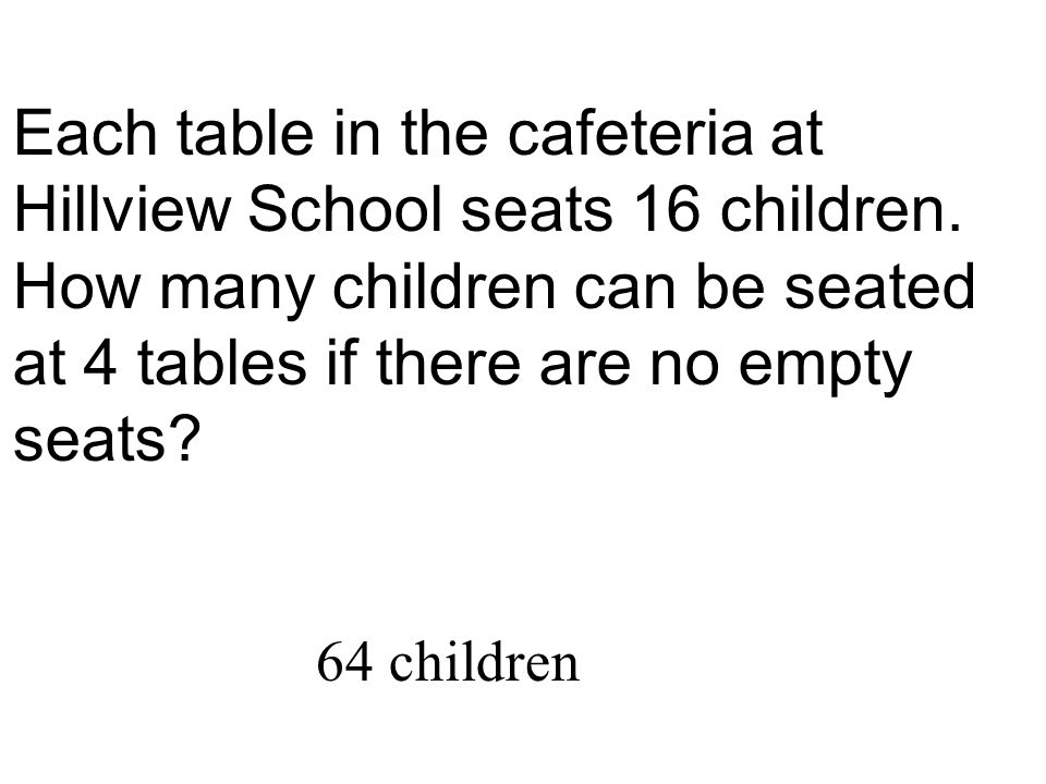 Each table in the cafeteria at Hillview School seats 16 children. How many children can be seated at 4 tables if there are no empty seats? 64 children