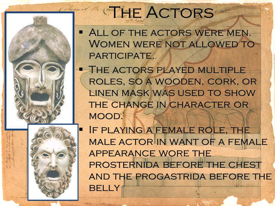 The Actors  All of the actors were men. Women were not allowed to participate.
