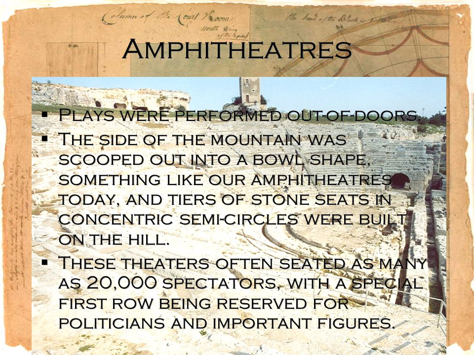 Amphitheatres  Plays were performed out-of-doors.