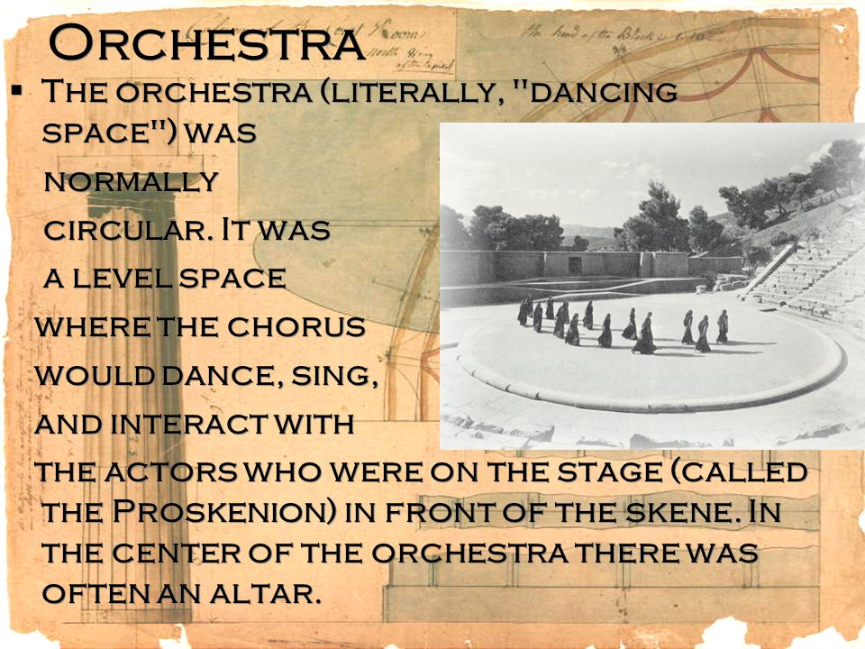 Orchestra  The orchestra (literally,