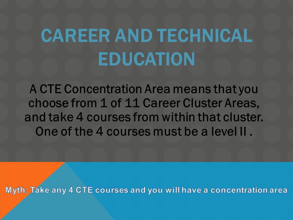 CAREER AND TECHNICAL EDUCATION A CTE Concentration Area means that you choose from 1 of 11 Career Cluster Areas, and take 4 courses from within that c