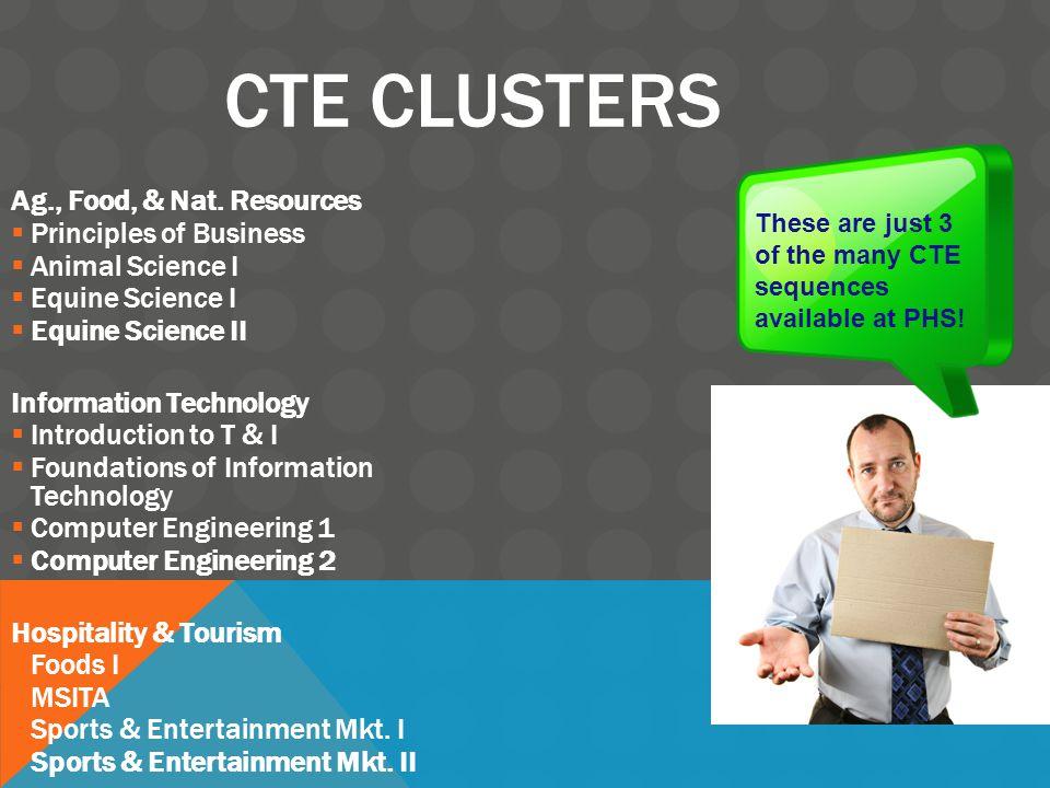 CTE CLUSTERS Ag., Food, & Nat. Resources  Principles of Business  Animal Science I  Equine Science I  Equine Science II Information Technology  I