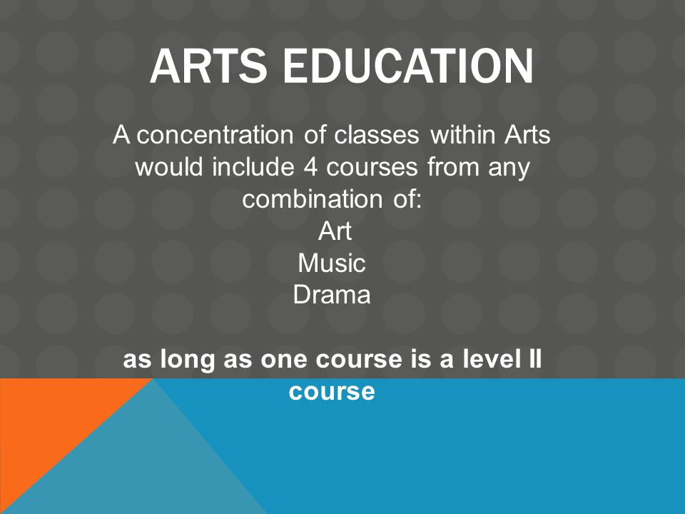 ARTS EDUCATION A concentration of classes within Arts would include 4 courses from any combination of: Art Music Drama as long as one course is a level II course