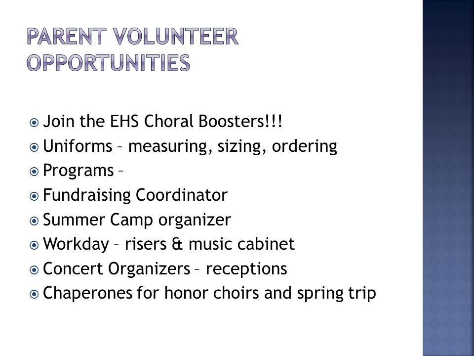  Join the EHS Choral Boosters!!.