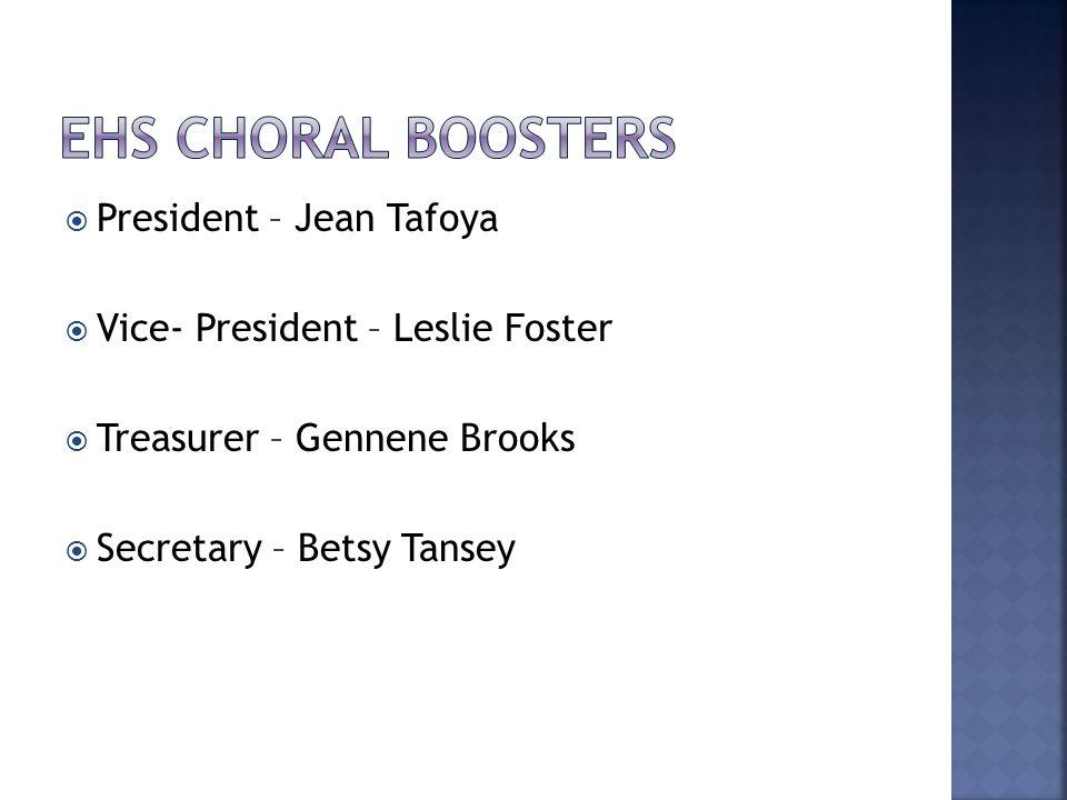 President – Jean Tafoya  Vice- President – Leslie Foster  Treasurer – Gennene Brooks  Secretary – Betsy Tansey