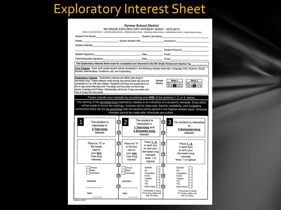 Exploratory Interest Sheet