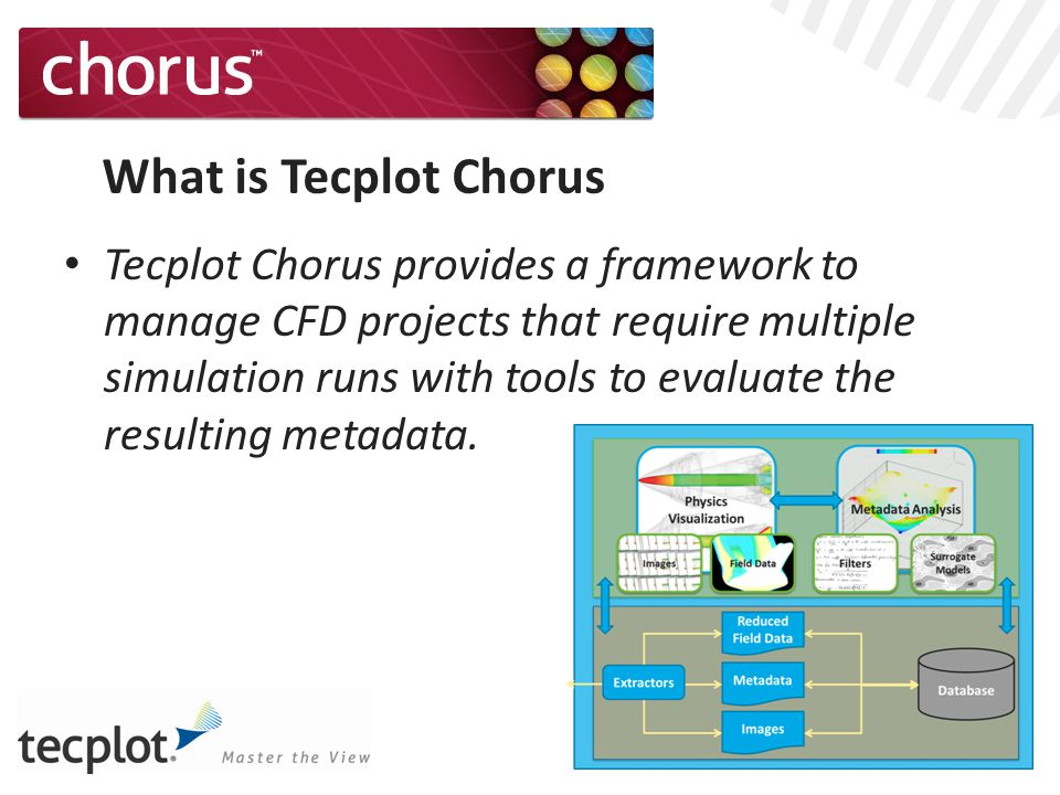 What is Tecplot Chorus Tecplot Chorus provides a framework to manage CFD projects that require multiple simulation runs with tools to evaluate the resulting metadata.