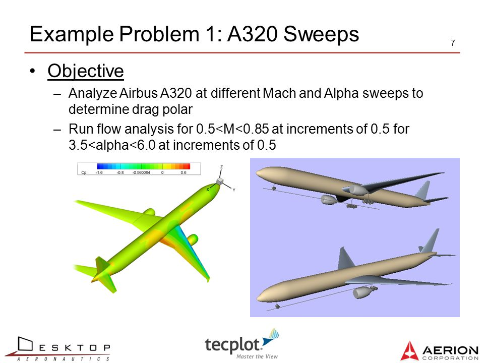 Example Problem 1: A320 Sweeps 7 Objective –Analyze Airbus A320 at different Mach and Alpha sweeps to determine drag polar –Run flow analysis for 0.5<
