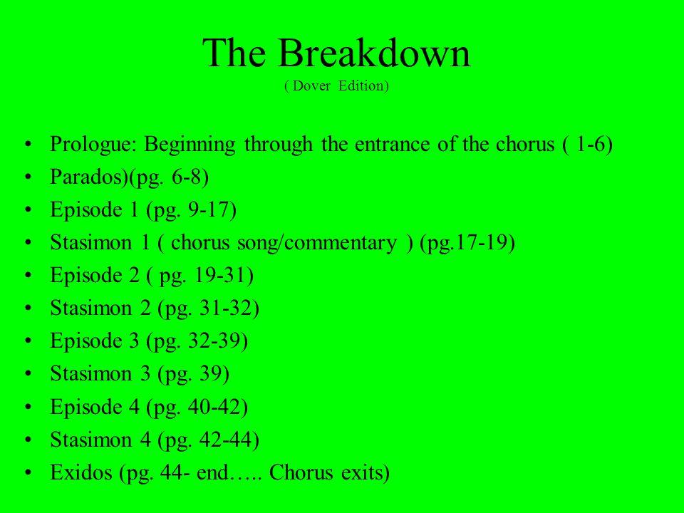 The Breakdown ( Dover Edition) Prologue: Beginning through the entrance of the chorus ( 1-6) Parados)(pg.