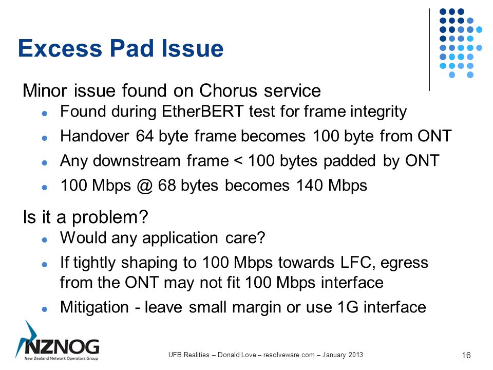Excess Pad Issue Minor issue found on Chorus service Found during EtherBERT test for frame integrity Handover 64 byte frame becomes 100 byte from ONT Any downstream frame < 100 bytes padded by ONT 100 Mbps @ 68 bytes becomes 140 Mbps Is it a problem.