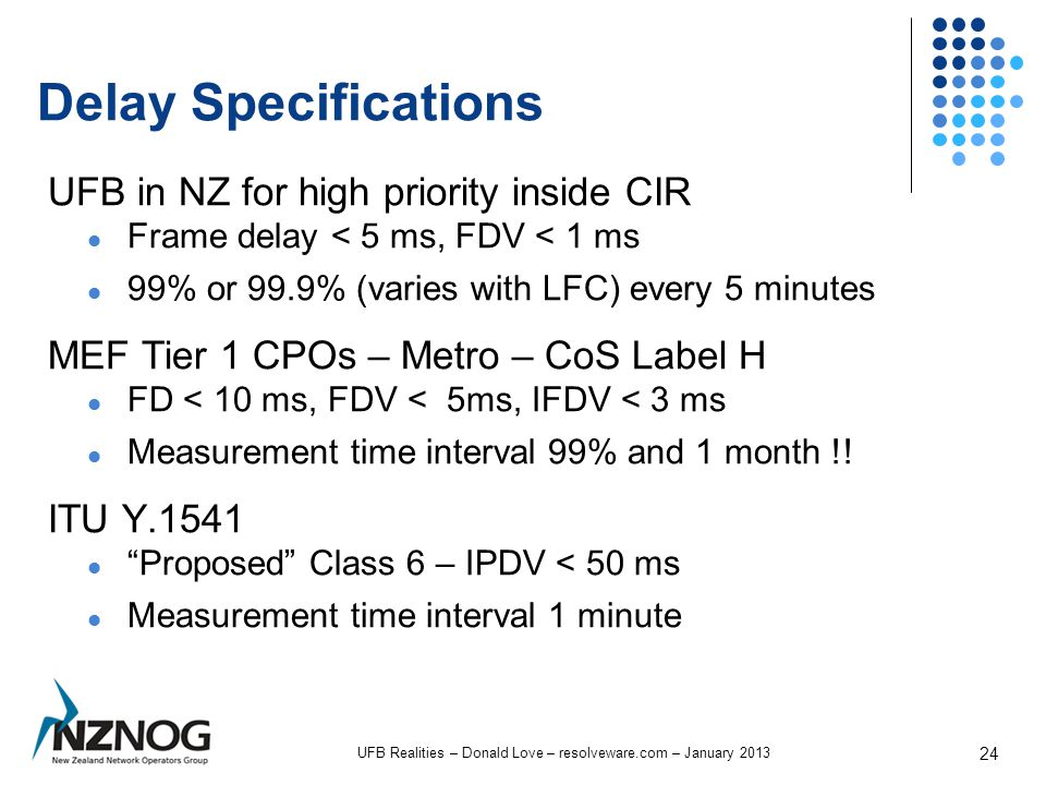 Delay Specifications UFB in NZ for high priority inside CIR Frame delay < 5 ms, FDV < 1 ms 99% or 99.9% (varies with LFC) every 5 minutes MEF Tier 1 CPOs – Metro – CoS Label H FD < 10 ms, FDV < 5ms, IFDV < 3 ms Measurement time interval 99% and 1 month !.