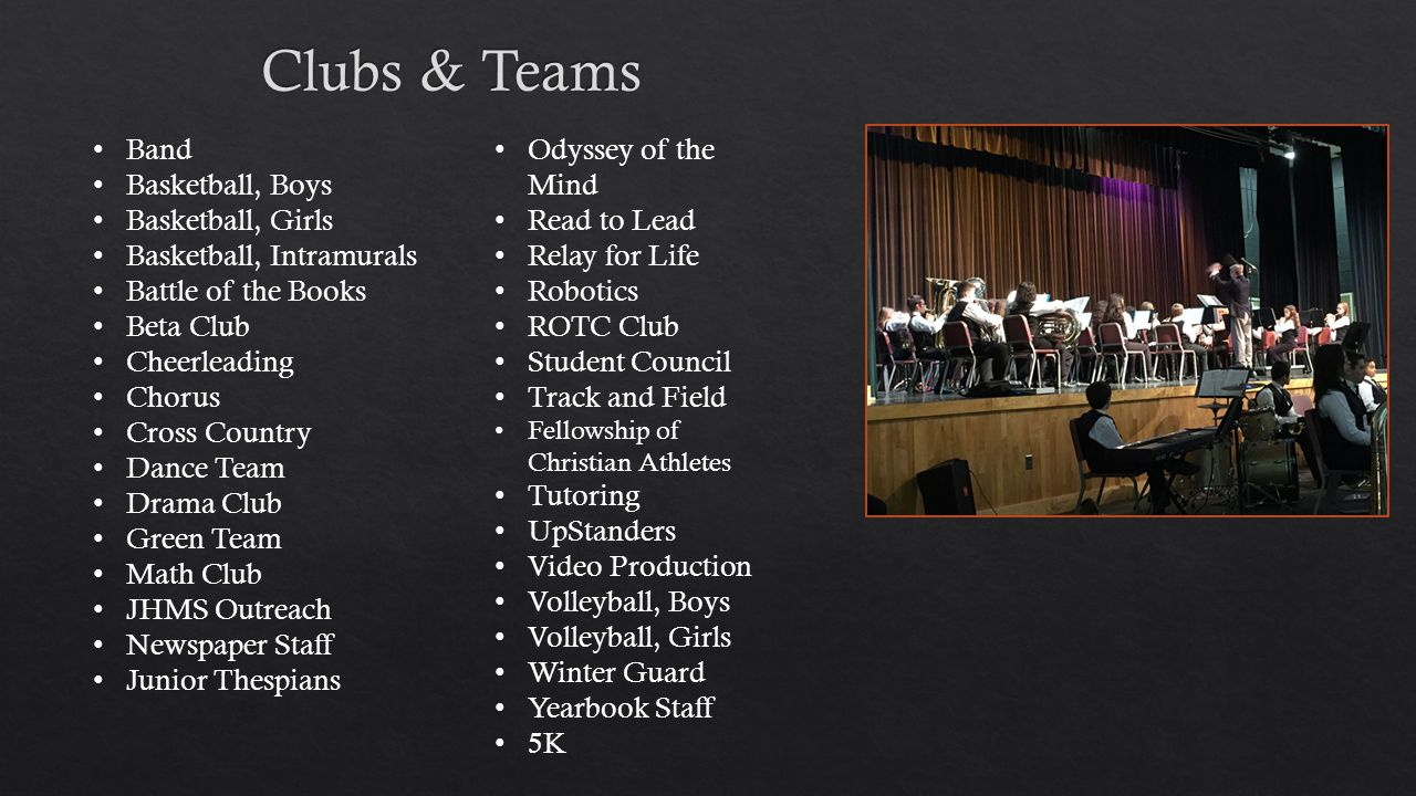 Band Basketball, Boys Basketball, Girls Basketball, Intramurals Battle of the Books Beta Club Cheerleading Chorus Cross Country Dance Team Drama Club