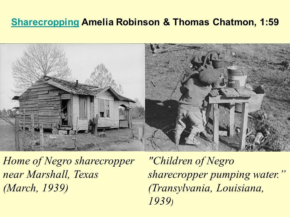 SharecroppingSharecropping Amelia Robinson & Thomas Chatmon, 1:59 Home of Negro sharecropper near Marshall, Texas (March, 1939) Children of Negro sharecropper pumping water. (Transylvania, Louisiana, 1939 )