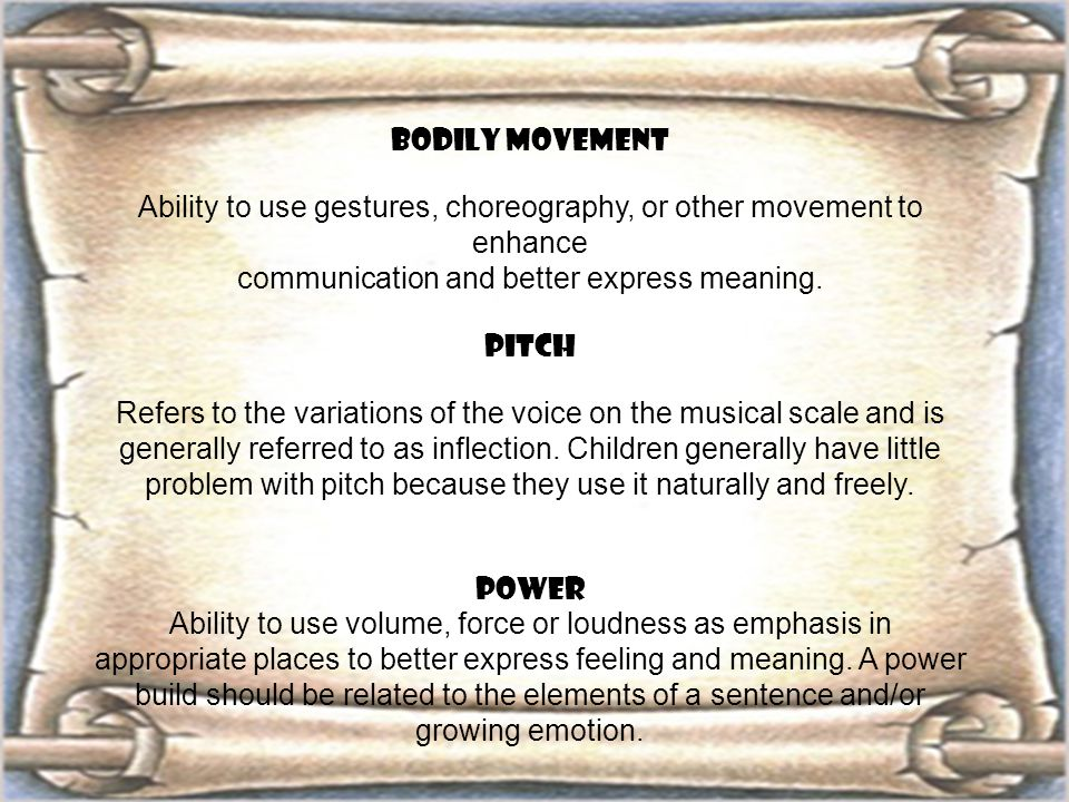BODILY MOVEMENT Ability to use gestures, choreography, or other movement to enhance communication and better express meaning. PITCH Refers to the vari