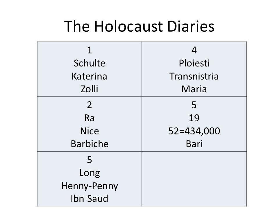 The Holocaust Diaries 1 Schulte Katerina Zolli 4 Ploiesti Transnistria Maria 2 Ra Nice Barbiche 5 19 52=434,000 Bari 5 Long Henny-Penny Ibn Saud