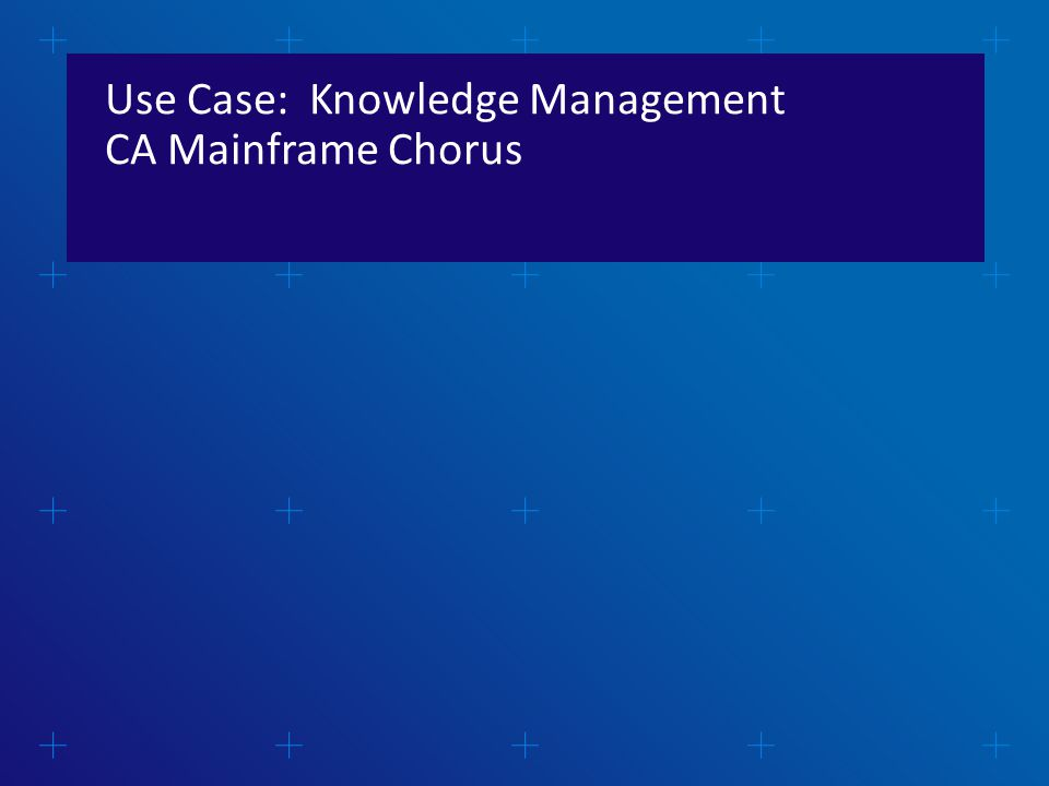 Use Case: Knowledge Management CA Mainframe Chorus