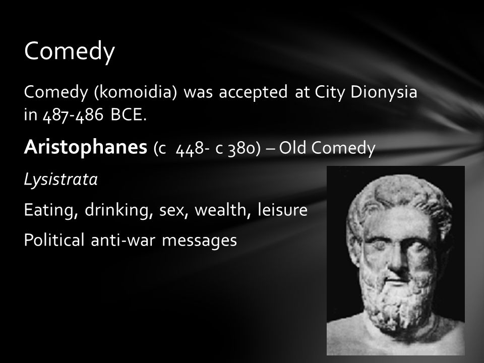 Comedy (komoidia) was accepted at City Dionysia in 487-486 BCE.