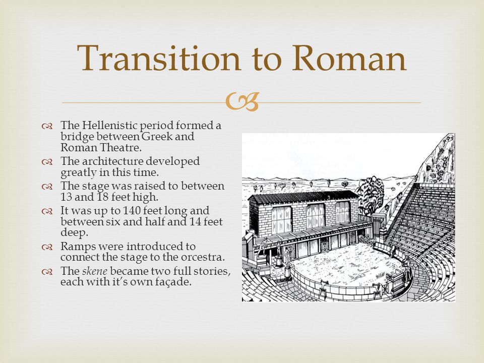  Transition to Roman  The Hellenistic period formed a bridge between Greek and Roman Theatre.